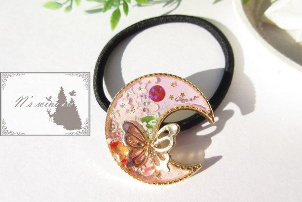 桜と蝶のヘアゴム