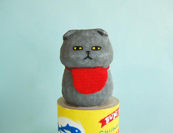 木彫り人形  スコティッシュ グレー  [MWF-061]