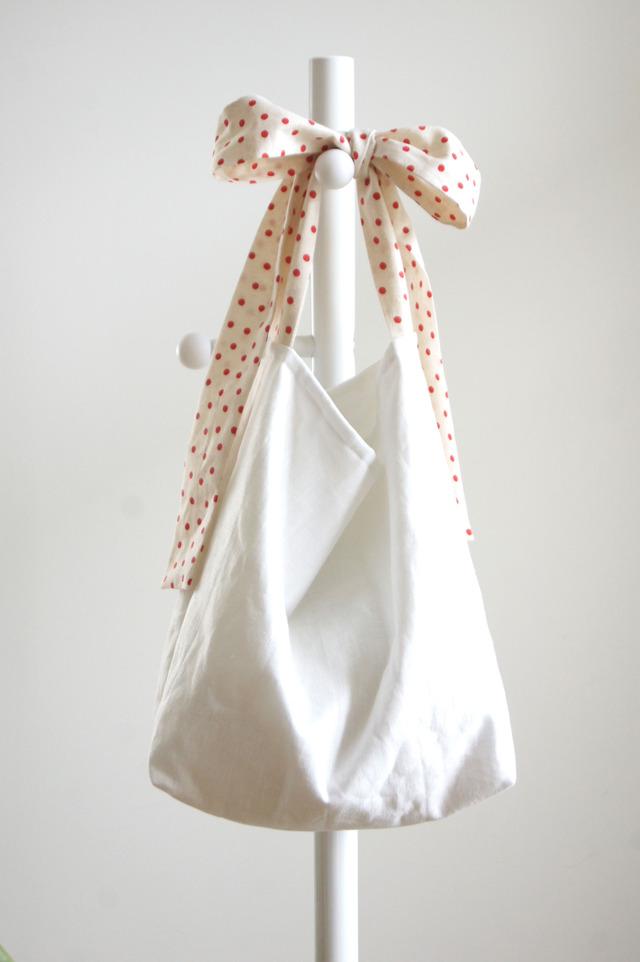 【L】リネンキルティングリボンのバッグ(ドット)