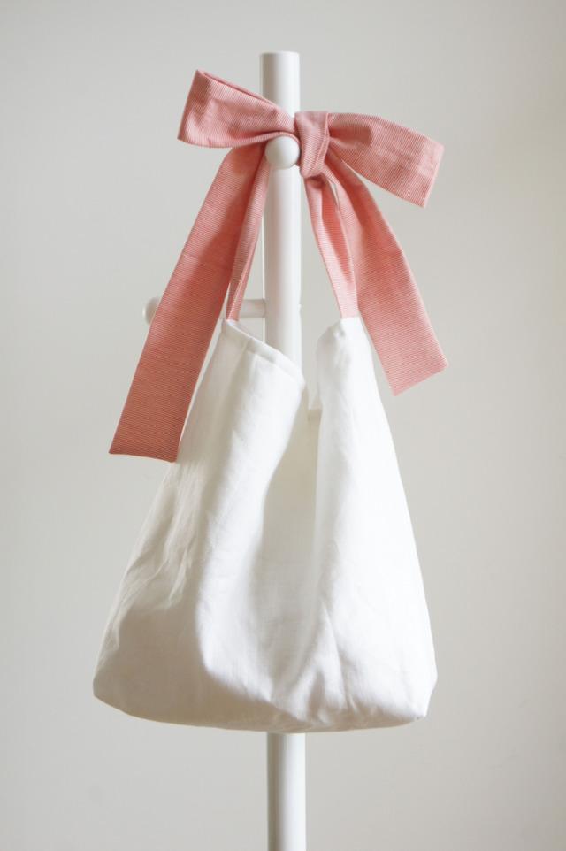 【L】リネンキルティングリボンのバッグ(極細ストライプ)