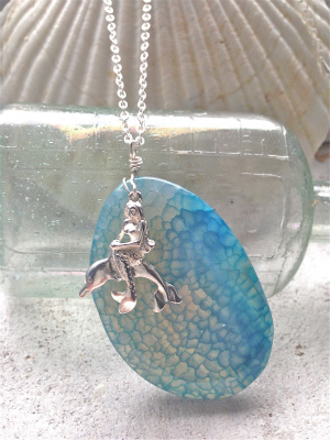 Mermaid & Dolphin in the Big Ocean Agate