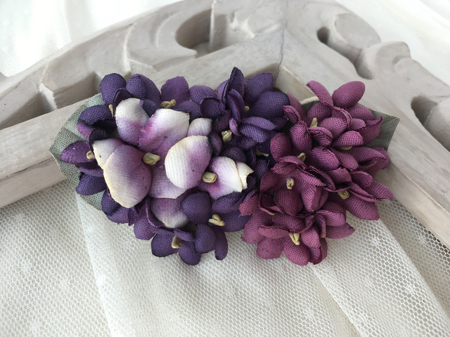 Heart shaped brooch/violets&pansy