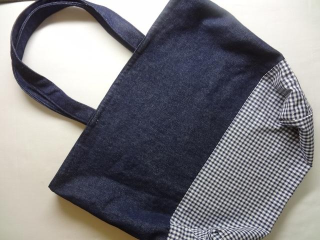 トートバッグ【紺デニム×紺白チェック】