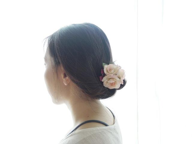 ヘッドドレス・コサージュ   *25 ライトピンク ミニバラ