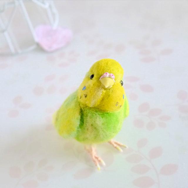 羊毛フェルトの小鳥 セキセイインコ黄緑