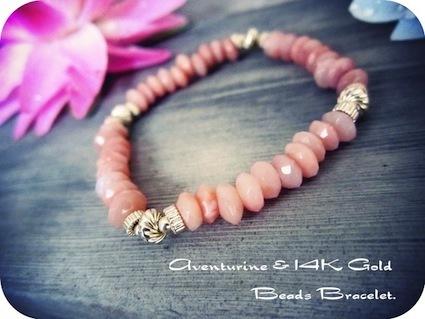 """Aventurine"" Rondel beads bracelet."