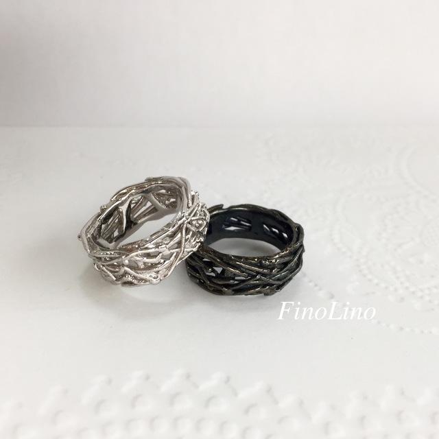 白と黒の鳥の巣リング Siver925