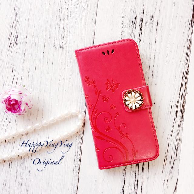 iphone7 iphoneケース 【赤色】蝶エレガ...