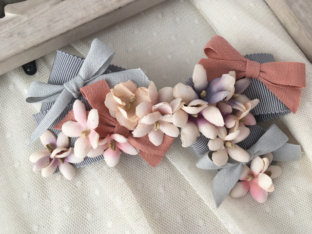 Ribbon on Ribbonバレッタ/romantic gray