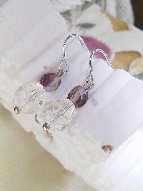 SILVER925 ポストの水晶☆ピアス☆感謝価格