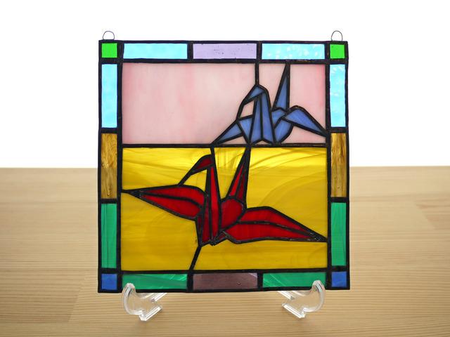 ステンドグラス ミニパネル 折り鶴 15cm