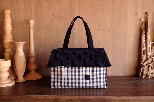 OUCHI box bag L  ネイビーチェック