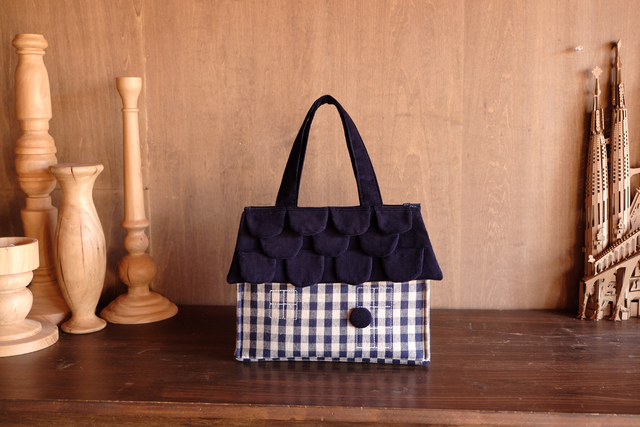 OUCHI box bag S  ネイビーチェック