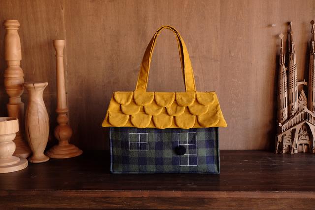 OUCHI box bag L  グリーンネイビーチ...