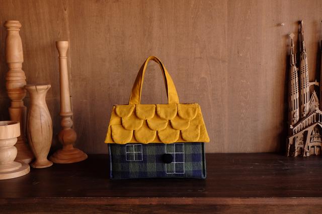 OUCHI box bag S グリーンネイビーチェック