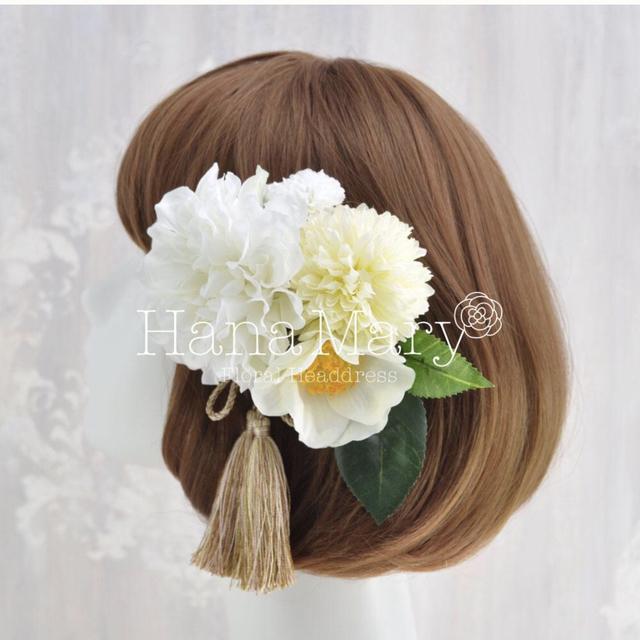 ダリアと椿の髪飾り