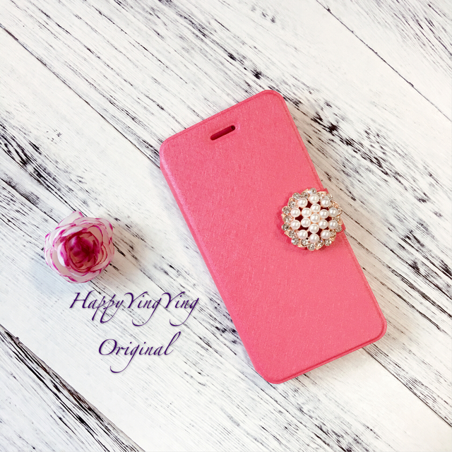 【iphone6/iphone6S】大きいビジュー濃いピンク手帳型