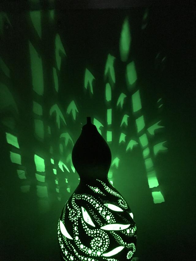 ひょうたんランプ 竹林の風モチーフ