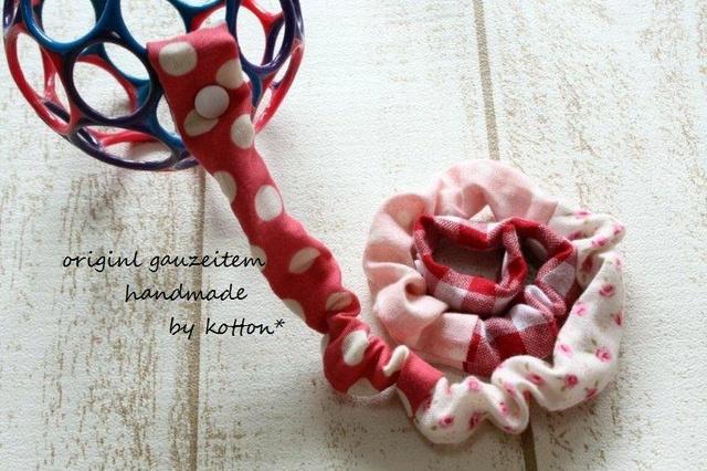 ダブルガーゼのやわらかおもちゃストラップ*pink小花
