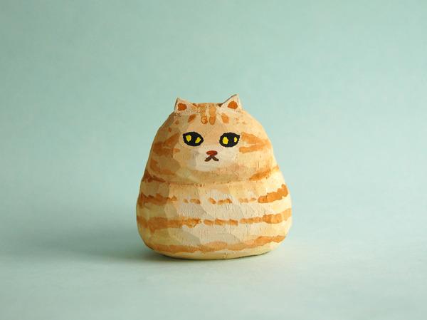 木彫り人形ねこ  ぶーにゃん 茶トラ  [MWF-062]