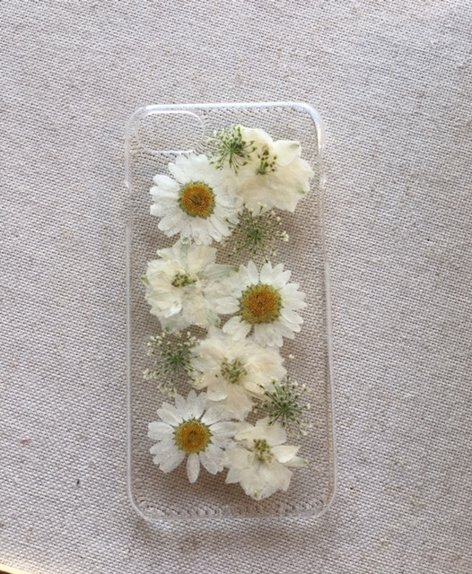 iphone7/6/6S 白い押し花のケース