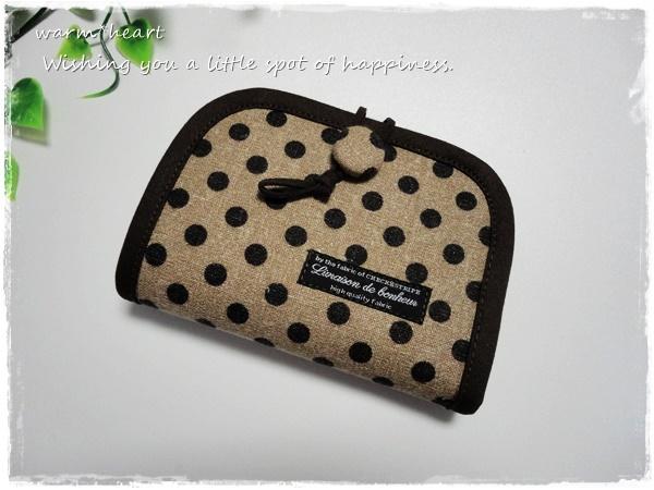 【試作品】二つ折財布・綿麻ドット柄