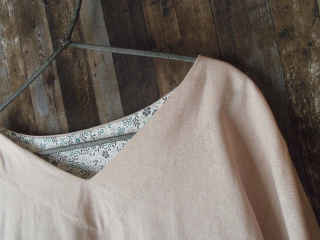 リネンシンプルシャツ grayishpink