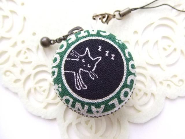 猫/黒&グリーン12/マカロンコインケー...
