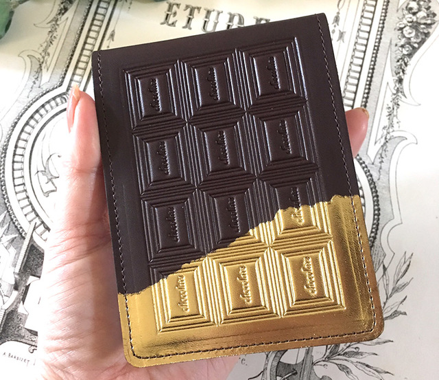 革のチョコレート メモ帳カバー・ビタ...