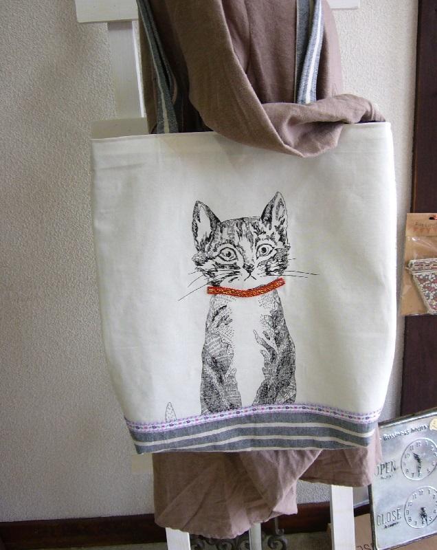 大きなネコのトートバッグ?たくさん入っ...