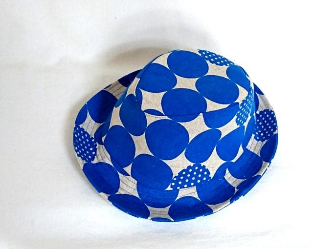 綿麻ブルードットハット56