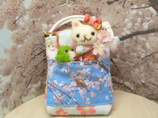 桜のミニポーチ★着物姿の白猫ちゃんと...