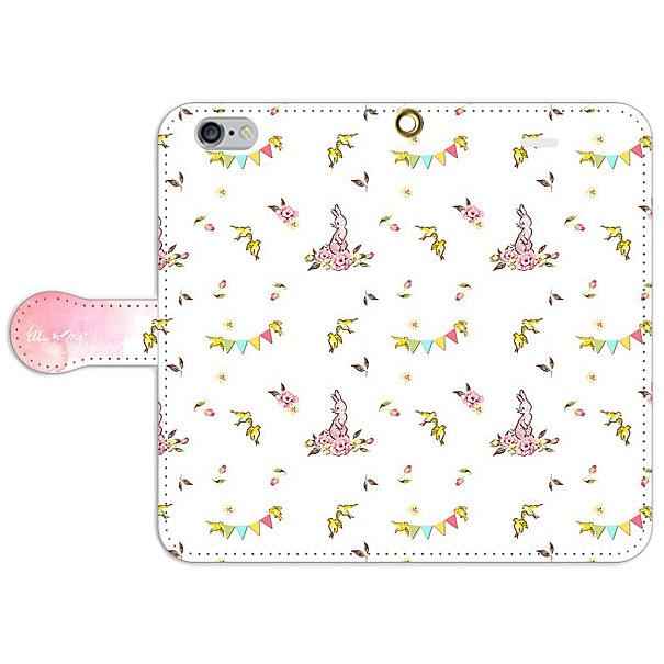 携帯ブック型ケース ピンクのうさぎ