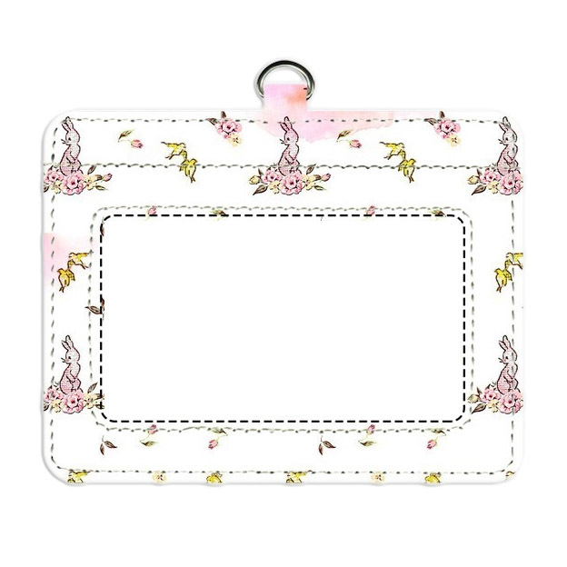 ピンクうさぎのIDカードケース
