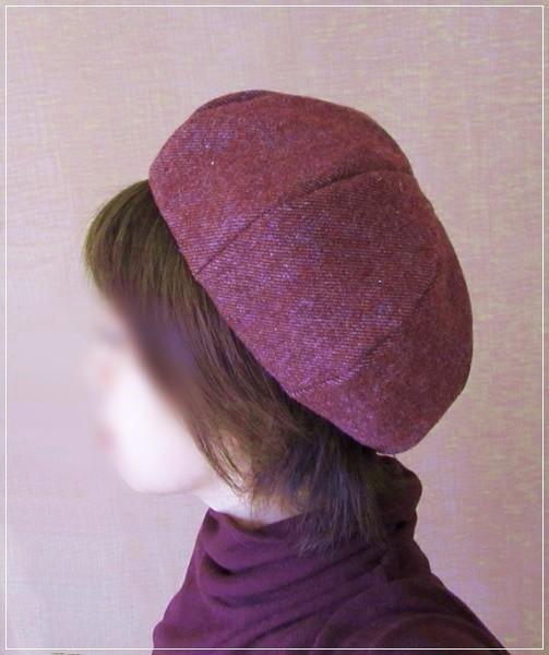 red wool* ほっこりベレー帽子