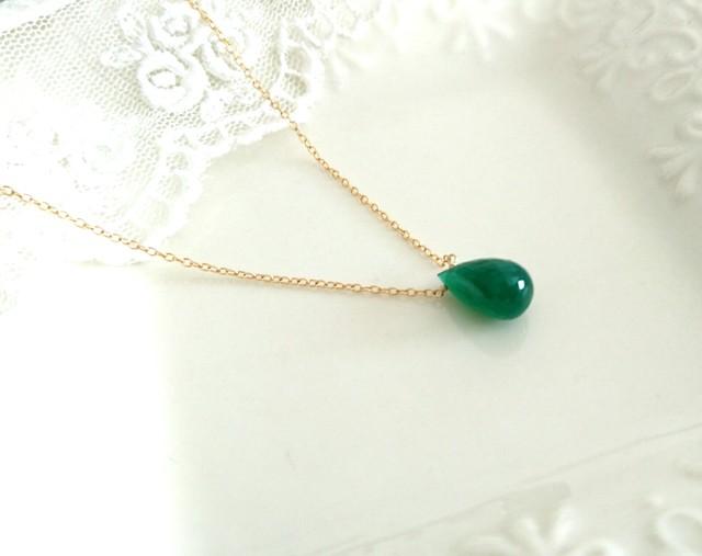 グリーンオニキスの一粒ネックレス