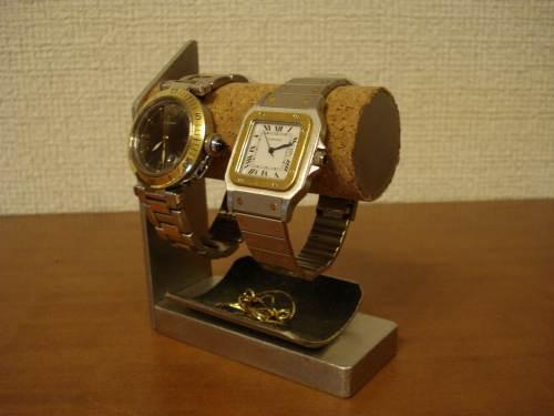 女性用2本掛け腕時計スタンド ブラック...