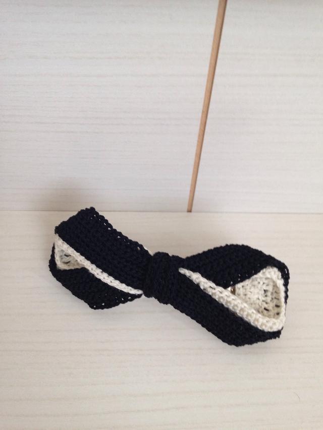 177 手編み バレッタ 黒×白