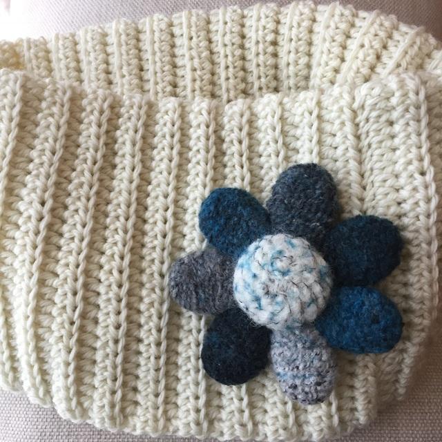 大人ブローチ276(ブルーの大きな花のブ...