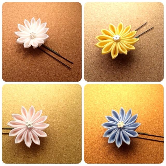 つまみ細工ー薄暮の菊