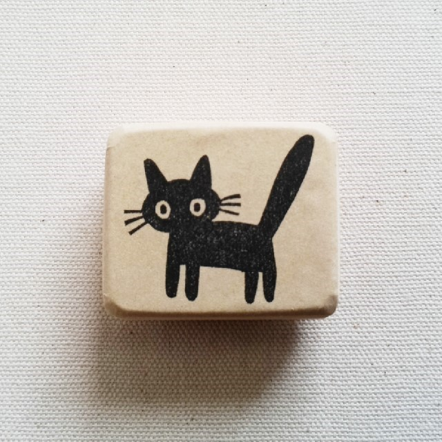 ゴム版はんこ《びっくりネコちゃん!》