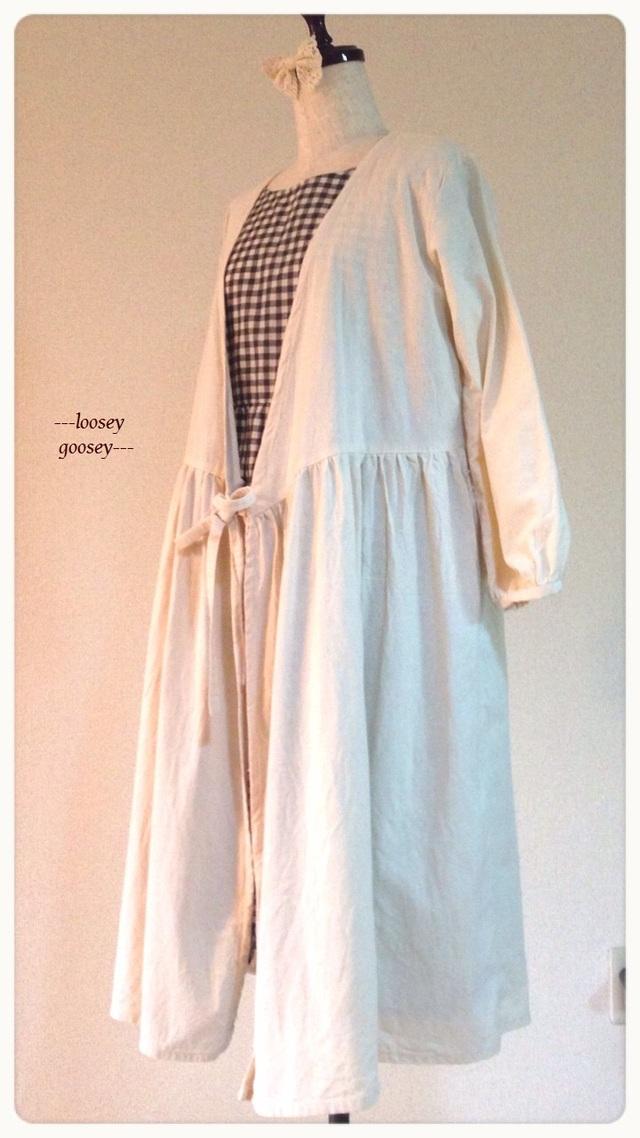 リボン結びの羽織りワンピース/コットン/ナチュラルホワイト