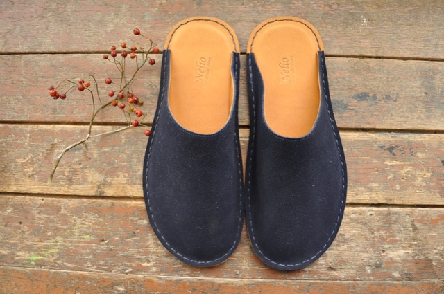 【sold out】革のルームシューズ NAVY スエード 《S》