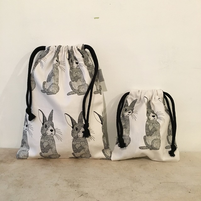 北欧ウサギの巾着袋2点セット♪(BA-049)
