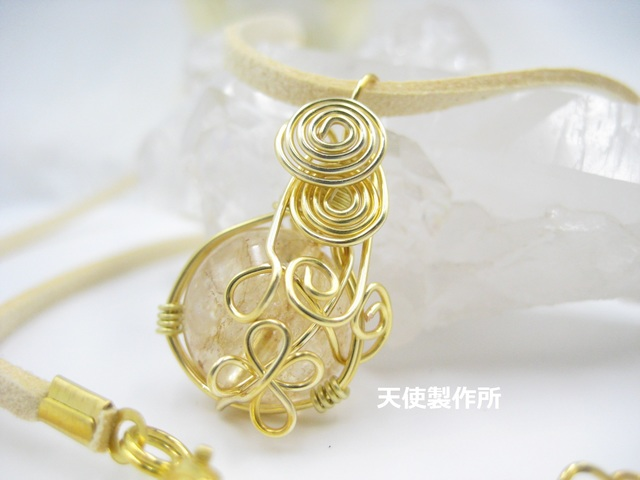 SALE☆シトリンのワイヤーペンダント(金)
