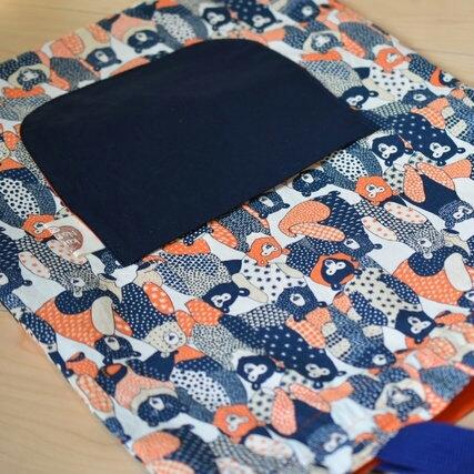 お着替え袋*くまオレンジ紺