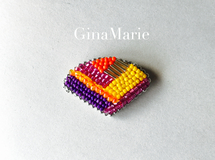 Thailand color ビーズ刺繍ブローチ