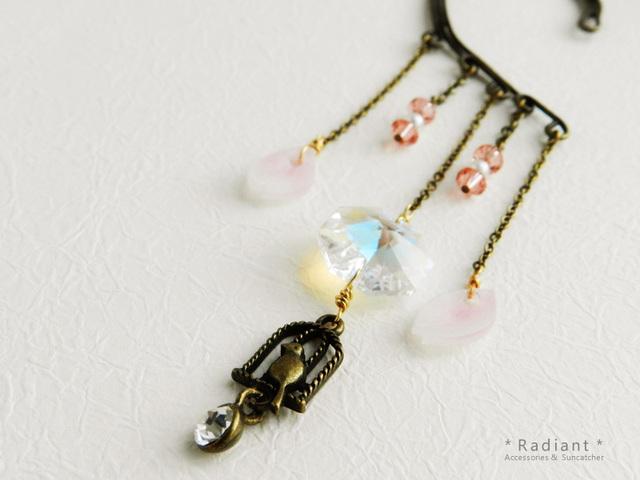小鳥と桜の金古美イヤーフック