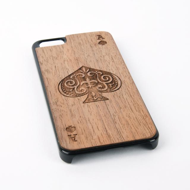 木彫りのスマホカバー スペードのエース(iPhone SE 専用)Walnut Smart Phone Cover