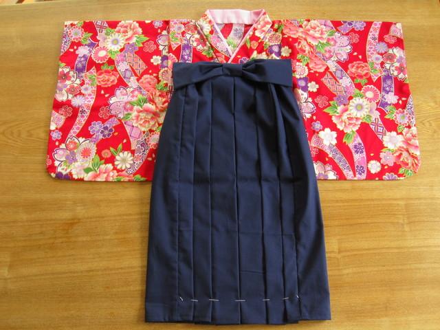オーダー製作します110cm着物&袴風ロングスカート髪飾り